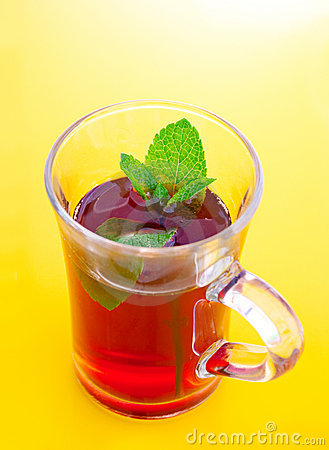 Tea drink in glass cup