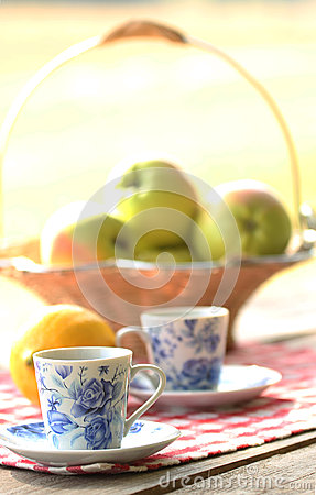 Tea and fruit  at picnic