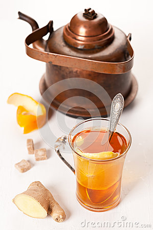 Tea with ginger and orange