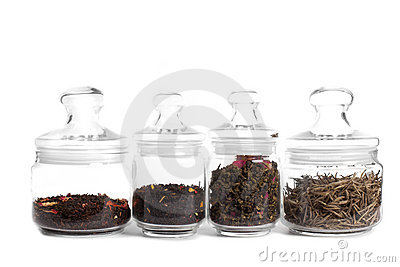 Tea in glass jars: milk puer, indian tea, oolong