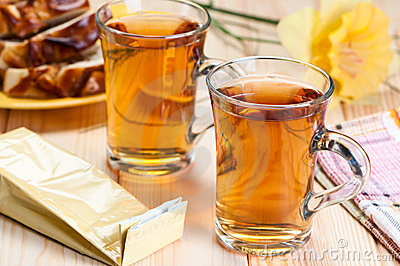Tea in glass mugs.