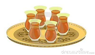 Tea Glasses And Arabian Decorated Tray 1