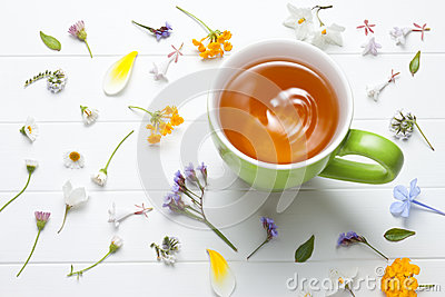 Tea Herbal Green Cup Flowers Stock Photo