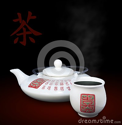 A tea hieroglyph with oriental teapot and a cup