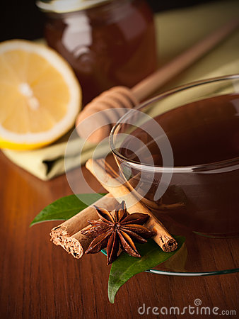 Tea with honey, lemon and cinnamon