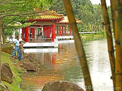 Tea House in Chinese Gardens, Singapore Editorial Stock Photo