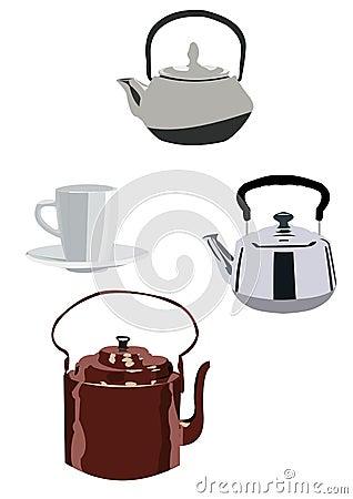 Tea kettles isolated on white background