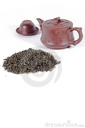 Tea leaves and teapot.