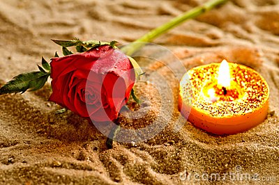 Tea light with rose