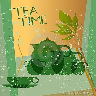 Tea menu card, design template