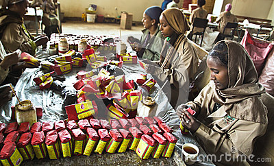 Tea packaging in Ethiopia Editorial Image
