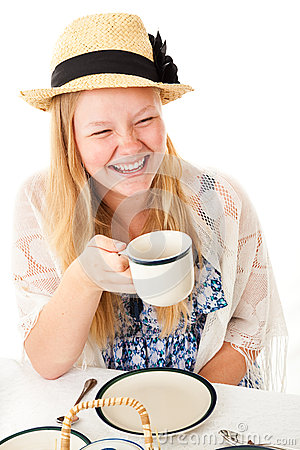 Free Tea Party Teen Laughing Stock Photo - 40165110