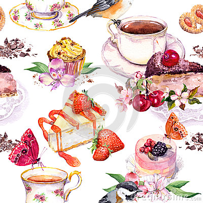 Free Tea Pattern - Flowers, Teacup, Cakes, Bird. Food Watercolor. Seamless Background Stock Photo - 78783190