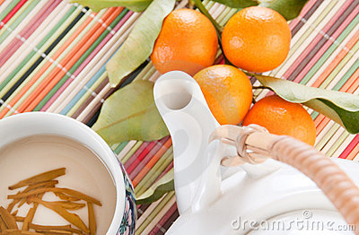 Tea pot with citrus