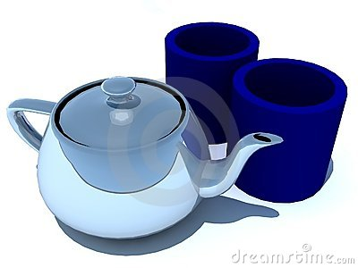 Tea pot and cups
