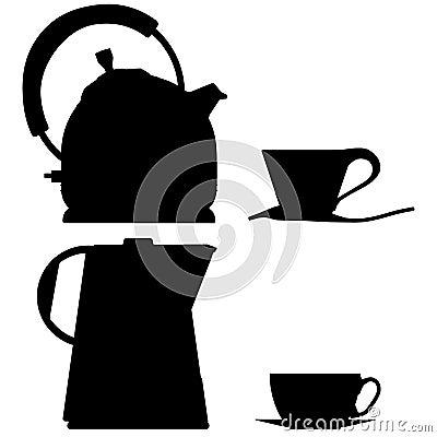 Tea pot  outline silhouette coffee glass