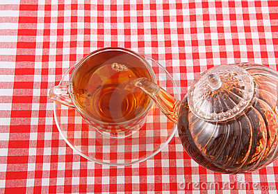 Tea pouring on tablecloth