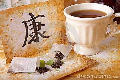 Tea scattered, Chinese health symbol and tea cup
