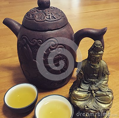 Chinese Tea Served in a Yixing Teapot Stock Photo