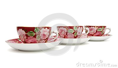 Tea service with floral pattern isolated