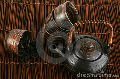 Tea-set with green tea on a brown background