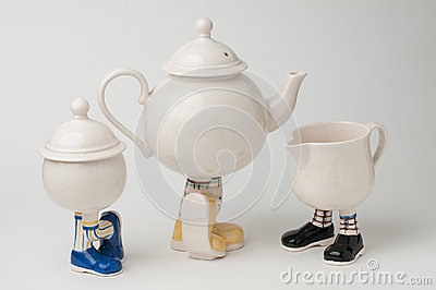 Tea set with legs