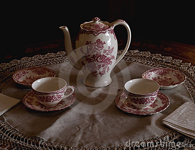 Tea set in morning light