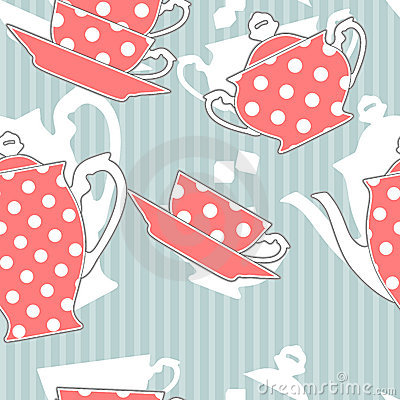 Tea set, seamless pattern