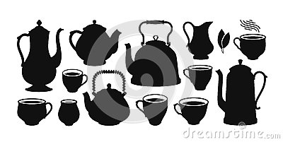 Tea set, silhouette. Kettle, teapot, cup, creamer icon or symbol. Vector illustration Vector Illustration