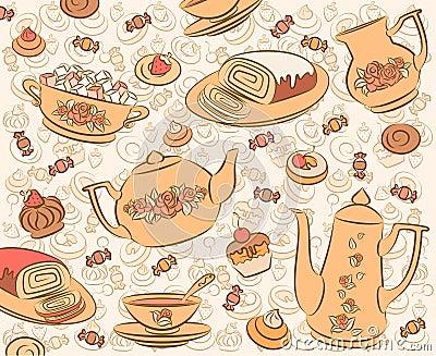 Tea set and sweet cakes.