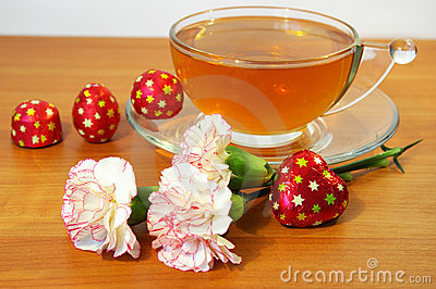 Tea sweets and flowers