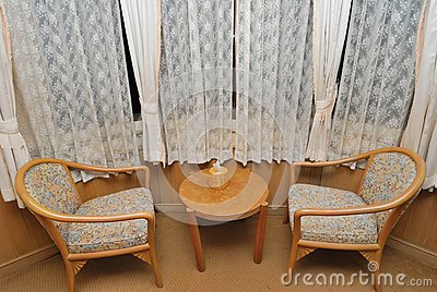 Tea table and chairs for resting in hotel room