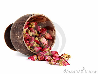 Tea from a tea-rose buds.