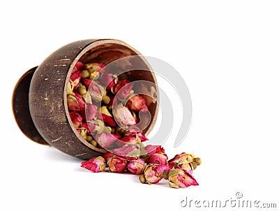 Tea from a tea-rose buds.