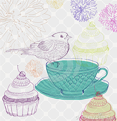 Tea time background with cupcakes and bird