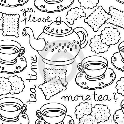 Free Tea Time Monochrome Seamless Pattern Royalty Free Stock Photography - 28088707