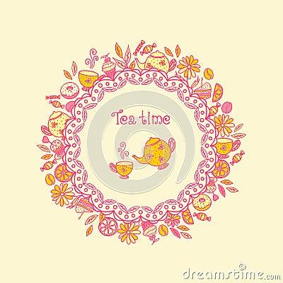 Free Tea Time. Set Of Sweets, Tea Utensils, Coffee Royalty Free Stock Photos - 38109498
