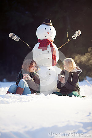 Tea time with a snowman