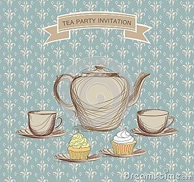 tea time vintage label vector victorian illustration royalty free stock images image 35145679. Black Bedroom Furniture Sets. Home Design Ideas
