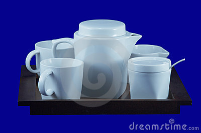 Tea-tray with cups 2, with clipping path