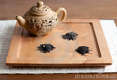 Tea varieties and a teapot