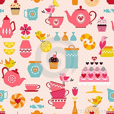 Free Tea With Love Pattern Royalty Free Stock Photos - 46930548