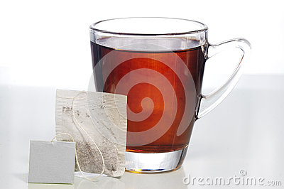 Teabag and a glass of tea