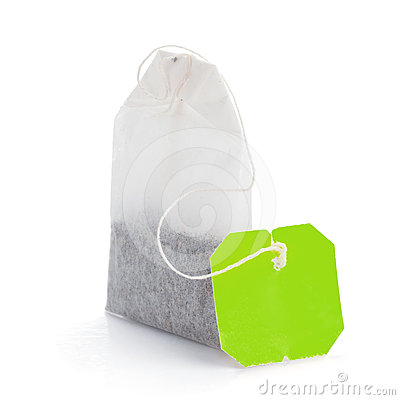 Free Teabag With Green Label Royalty Free Stock Photos - 24358088