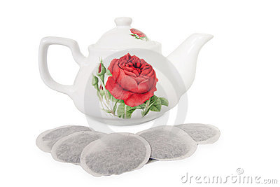 Teabags and teapot tea bag ceramic porcelain