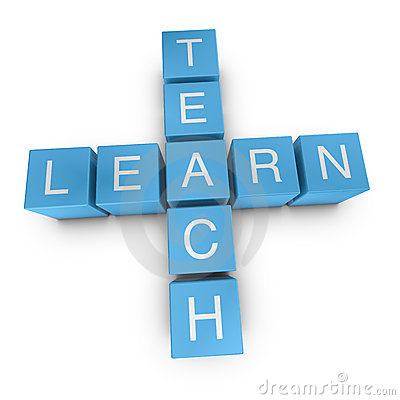 Teach and learn 3D crossword on white background
