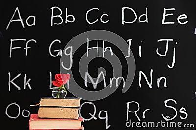 Teacher appreciation - rose & chalkboard