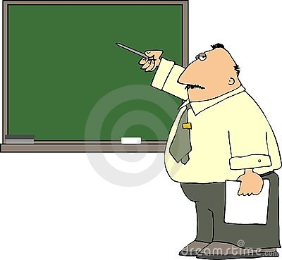 Teacher At A Blackboard