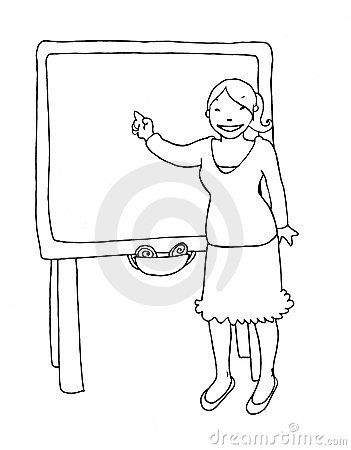 Teacher at the blackboard black and white