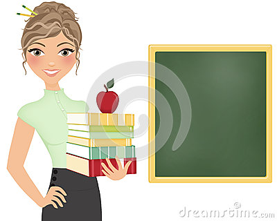 Teacher with books and chalkboard
